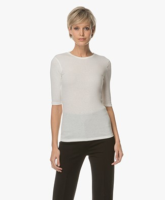 Filippa K Slim Rib Tee - Off-white