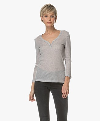 Filippa K V-Neck Henley T-shirt - Light Grey
