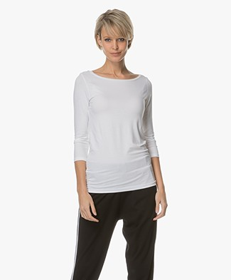 Majestic Viscose T-shirt with Cropped Sleeves - White