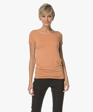 Majestic Soft Touch Viscose Jersey T-shirt - Tan