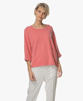 Repeat Cashmere Boothals Trui - Coral