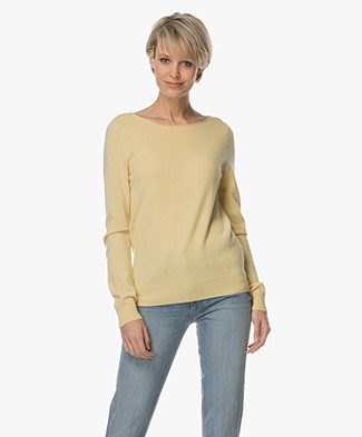 Repeat Cashmere Boothals Trui - Light Yellow
