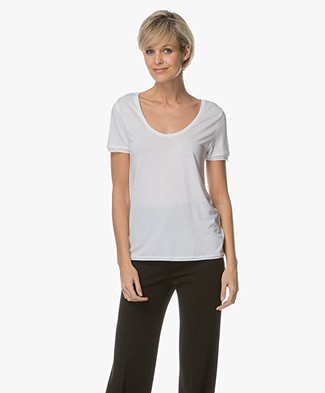 Filippa K Scoop Neck Tee - Wit