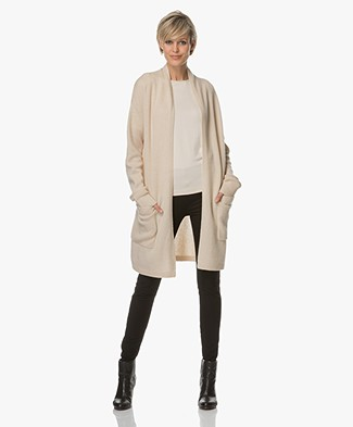 Joseph Open Long Cashmere Cardigan - Beige Chine