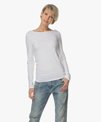 Majestic Supersoft Longsleeve met Lage Rug - Wit