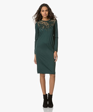 Denham Flame Jesey Dress - Antique Moss