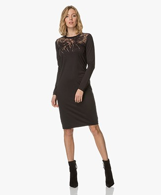 Denham Flame Jesey Dress - Shadow Black