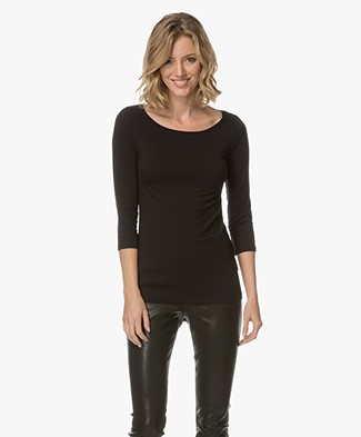 Majestic Viscose T-shirt with Cropped Sleeves - Black