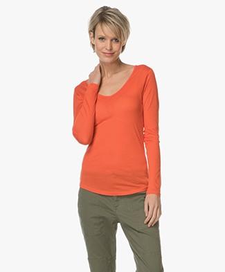 Closed Jersey Long Sleeve T-shirt - Orange Lava