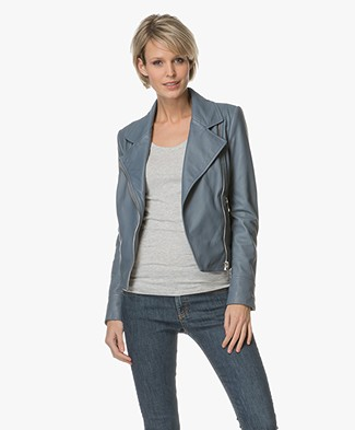 Drykorn Ceylon Leather Biker Jacket - Greyish Blue