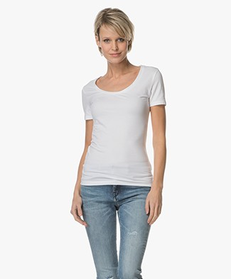 Drykorn Natina Scoopneck T-shirt - Wit