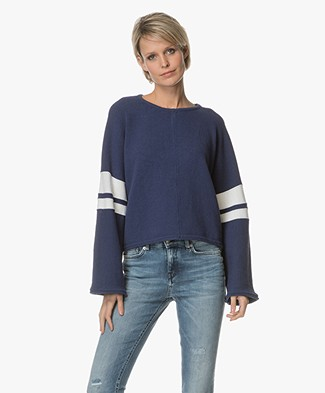 Drykorn Nonie Boxy Trui met Streepdetails - Navy