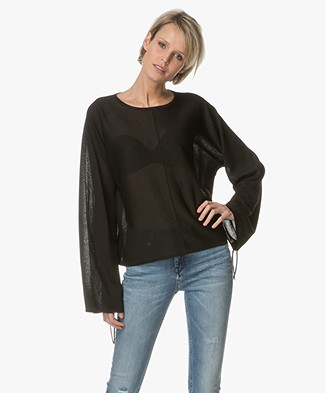 Drykorn Noni Pullover with Drawstring Sleeves - Black