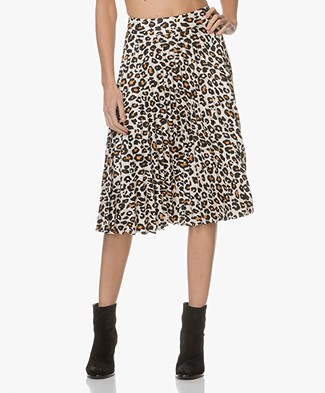 FWSS Heidi Leopard Pleated Skirt - Cadmium Yellow