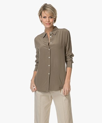 Filippa K Classic Silk Shirt - Khaki Green