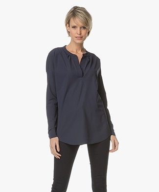 JapanTKY Awe V-slit Neck Blouse - New Blue