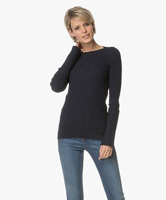 Joseph Merino Rib Knit Sweater - Navy