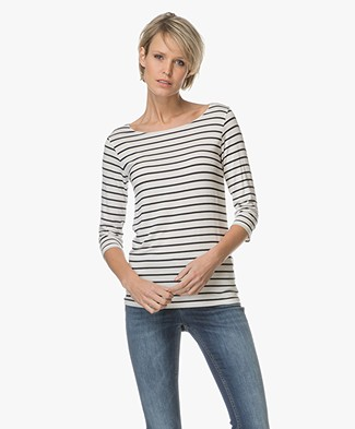Majestic Striped T-shirt - Milk/Marine