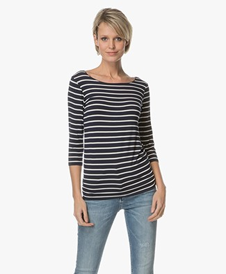 Majestic Striped T-shirt - Marine/Milk