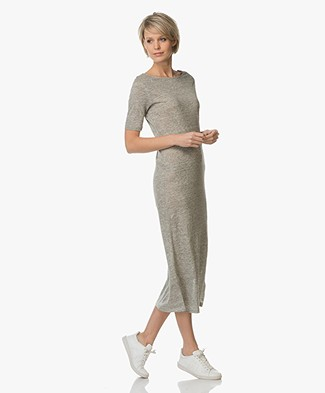 Majestic Linen-Jersey Midi Dress - Granit