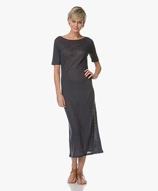 Majestic Linen-Jersey Midi Dress - Marine