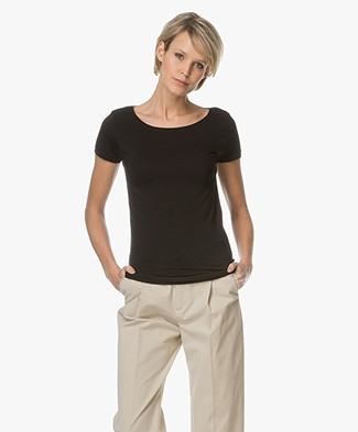 Majestic Soft Touch Viscose Jersey T-shirt - Black