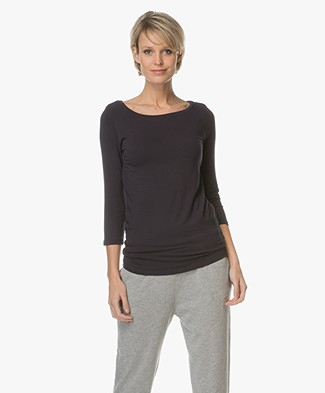 Majestic Viscose T-shirt with Cropped Sleeves - Marine