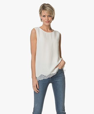 Repeat Viscose Top with Lace - Cream