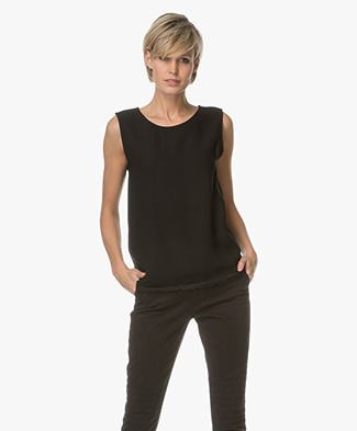 Repeat Viscose Top with Lace - Black