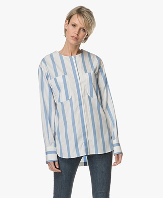 Sportmax Tequila Gestreepte Blouse - Blauw/Off-white