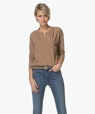 JapanTKY Awe V-slit Neck Blouse - Camel