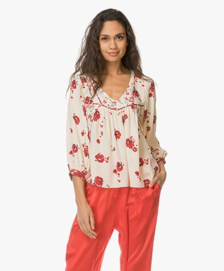 ba&sh Bright Viscose Blouse met Bloemenprint - Ecru