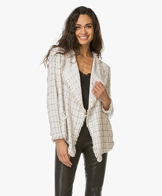 IRO Quinet Blazer with Check Design - Ecru/Black