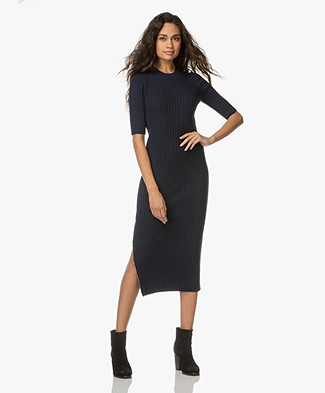 Joseph Alaska Merino Rib Knit Dress - Navy