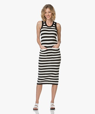 Joseph Vend Knitted Sleeveless Midi Dress - Black/Off-white