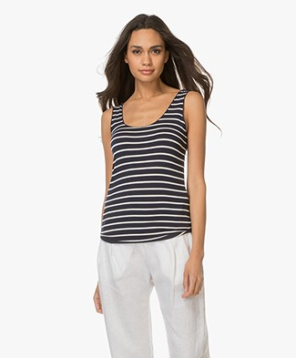 Majestic Striped Viscose Tank Top - Marine/Milk