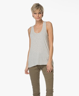 Majestic U-neck Top in Viscose Jersey - Light Grey Melange