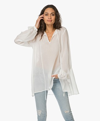 Matin Studio Cotton A-line Blouse - White