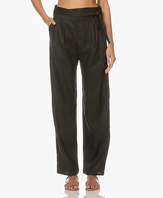 Matin Studio Linen Pleated Pants - Black