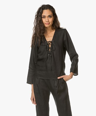 Matin Studio Lace-up Linen Blouse - Black