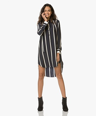Rag & Bone Arc Striped Tunic in Silk - Dark Blue/Off-white