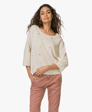 Repeat Cashmere Pullover with Star Print - Cream