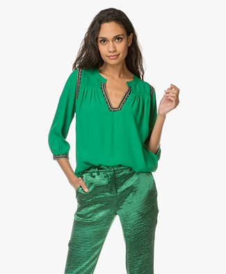 Ba&sh Time Viscose Blouse with Embroidered Details - Green