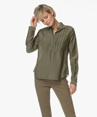 BOSS Orange Ciledia Pleated Blouse - Khaki