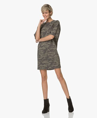 Drykorn Amari Dress with Camouflage Print - Green