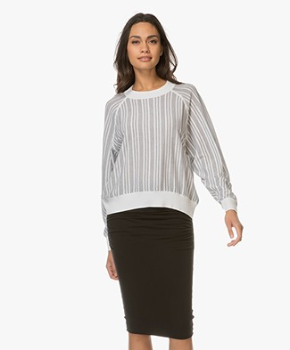 Drykorn Damia Striped Pullover with Silk - White/Black