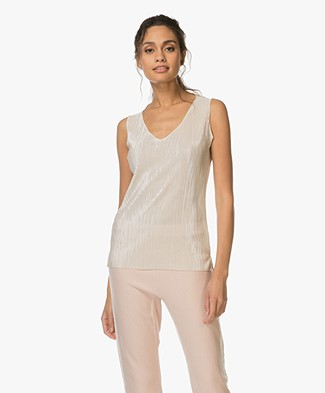 LaSalle Sleeveless Plissé Top - Beige