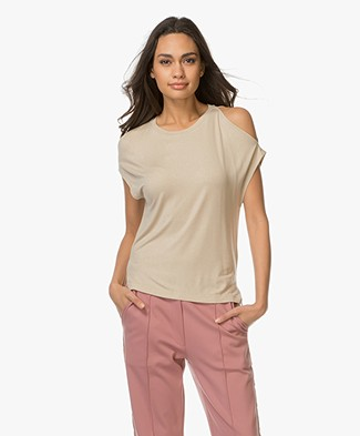 Majestic Cold Shoulder T-shirt - Métal Goud