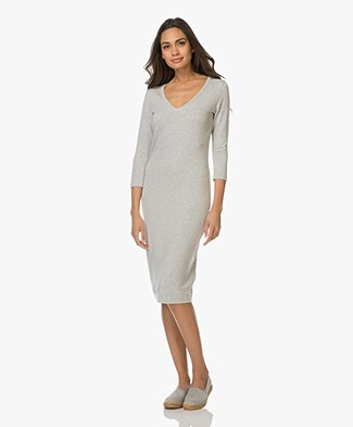 Majestic Jersey V-neck Dress - Light Grey Melange
