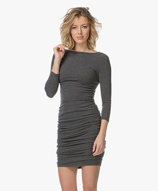 James Perse Jersey Jurk met Lage Rug - Heather Charcoal